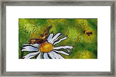 Framed Print featuring the painting Butterfly And Flower by Georgi Dimitrov