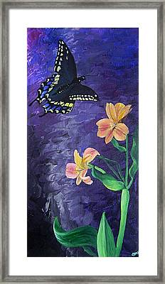 Butterfly And Flowers Framed Print by Diane Peters