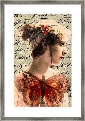 Butterfly And Rose 2 Framed Print by Desiree Paquette