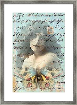 Butterfly And Rose Framed Print by Desiree Paquette