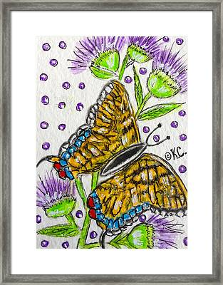 Butterfly And Thistles Framed Print