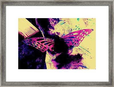Framed Print featuring the photograph Butterfly Disintegration  by Jessica Shelton