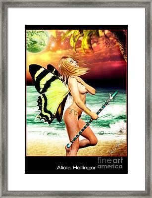 Butterfly Fairy On The Beach Topless Framed Print