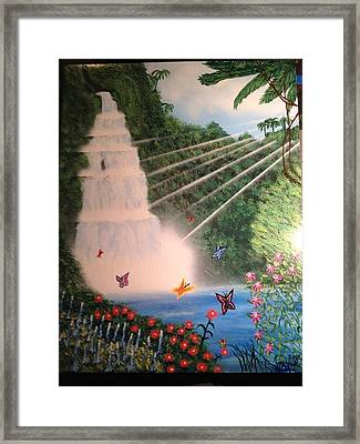 Framed Print featuring the painting Butterfly Falls by Michael Rucker