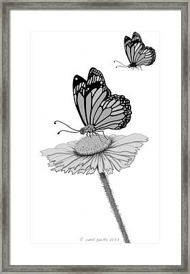 Framed Print featuring the digital art Butterfly Friends by Carol Jacobs