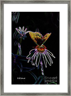 Framed Print featuring the digital art Butterfly Garden 03 - Great Spangled Fritillary by E B Schmidt