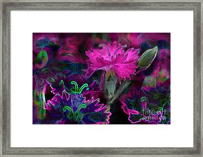 Framed Print featuring the digital art Butterfly Garden 08 - Carnations by E B Schmidt