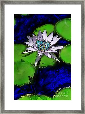 Framed Print featuring the digital art Butterfly Garden 10 - Water Lily by E B Schmidt