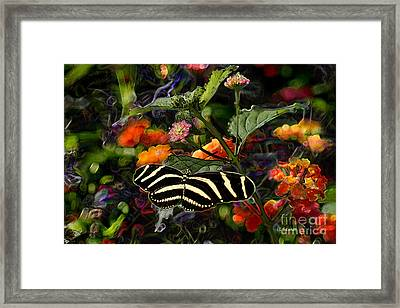 Framed Print featuring the digital art Butterfly Garden 14 - Zebra Heliconian by E B Schmidt