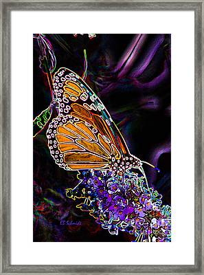 Framed Print featuring the digital art Butterfly Garden 24 - Monarch by E B Schmidt