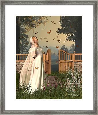 Butterfly Garden Bride - 1 Framed Print