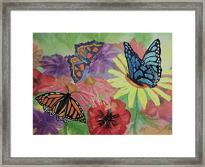 Framed Print featuring the painting Butterfly Garden by Ellen Levinson