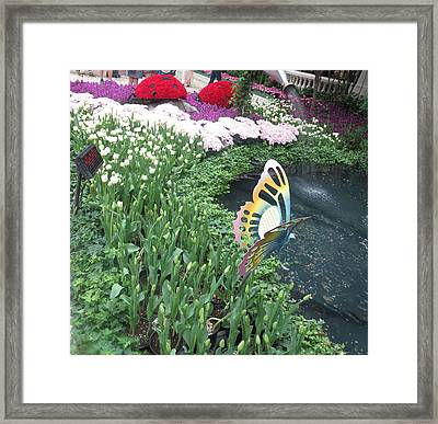 Framed Print featuring the photograph Butterfly Garden Ladybug Flowers Green Theme by Navin Joshi