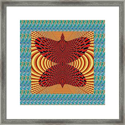 Butterfly Golden Wave Spiral Infinity Symbol Blue Red Yellow Graphics Deco Decoration Framed Print