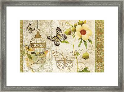 Butterfly Green Collage Framed Print by Grace Pullen