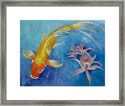 Butterfly Koi With Orchids Framed Print by Michael Creese