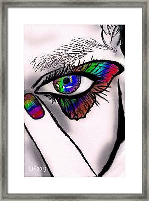Butterfly Lashes Framed Print by Larry Ferreira