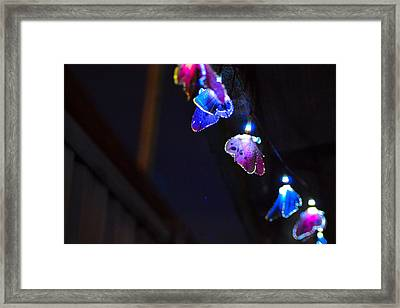 Framed Print featuring the photograph Butterfly Lights Hanging At Night  by Naomi Burgess