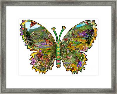 Butterfly Meadow Green Framed Print by Alixandra Mullins