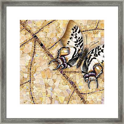 Framed Print featuring the painting Butterfly Mosaic 01 Elena Yakubovich by Elena Yakubovich