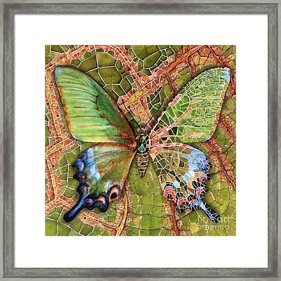 Framed Print featuring the painting Butterfly Mosaic 03 Elena Yakubovich by Elena Yakubovich