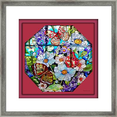 Butterfly Octagon Stained Glass Window Framed Print by Thomas Woolworth