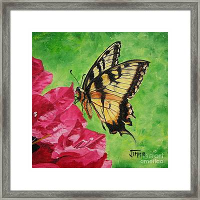 Framed Print featuring the painting Butterfly On Bougainvillea by Jimmie Bartlett