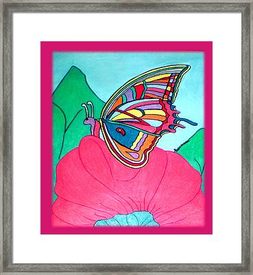 Butterfly On Pink Flower Framed Print by Claire Decker