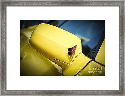 Butterfly On Sports Car Mirror Framed Print