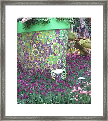 Framed Print featuring the photograph Butterfly Park Garden Painted Green Theme by Navin Joshi