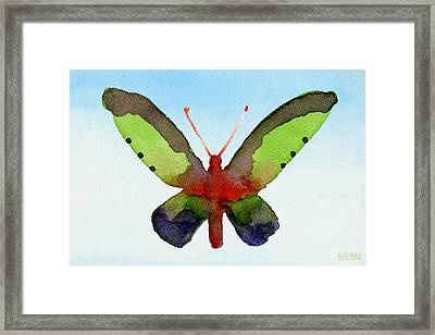 Butterfly Purple And Green Watercolor Art Print Framed Print