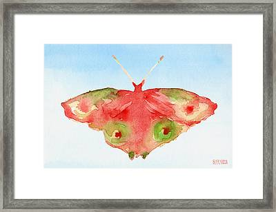 Butterfly Red And Green Watercolor Art Print Framed Print