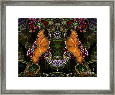 Framed Print featuring the digital art Butterfly Reflections 04 - Julia Heliconian by E B Schmidt