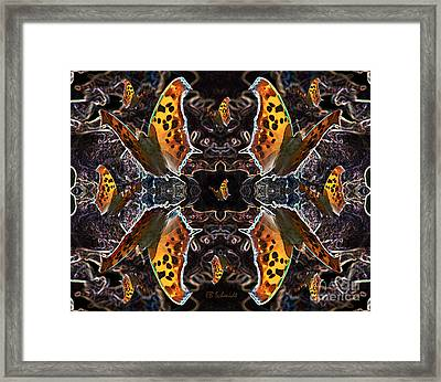 Framed Print featuring the digital art Butterfly Reflections 05 - Eastern Comma by E B Schmidt