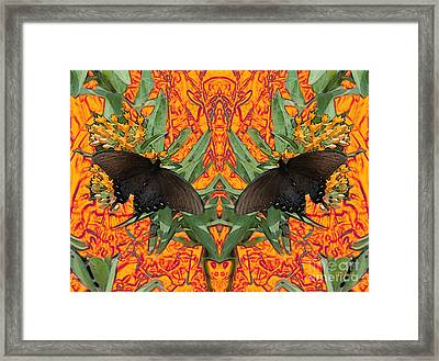 Framed Print featuring the digital art Butterfly Reflections 06 - Spicebush Swallowtail by E B Schmidt