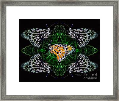Framed Print featuring the digital art Butterfly Reflections 07 - Monarch by E B Schmidt