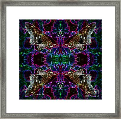 Framed Print featuring the digital art Butterfly Reflections 09 - Silver Spotted Skipper Reflections by E B Schmidt