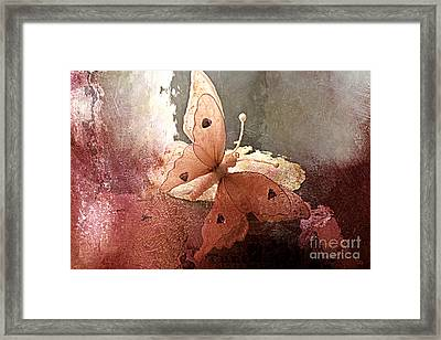 Butterfly Surreal Fantasy Painterly Impressionistic Sepia Abstract Butterfly  Framed Print