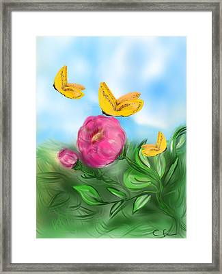 Framed Print featuring the digital art Butterfly Triplets by Christine Fournier