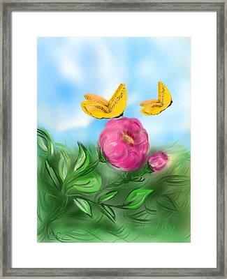 Framed Print featuring the digital art Butterfly Twins by Christine Fournier