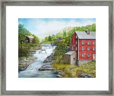 Buttermilk Falls With Red Mill Framed Print by Carol Angela Brown