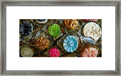Button Biographies Framed Print by Gwyn Newcombe
