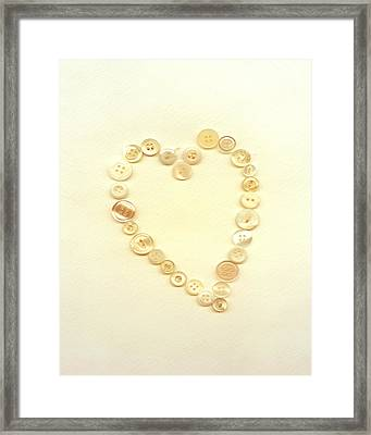 Button Heart Collage  Framed Print by Ann Powell