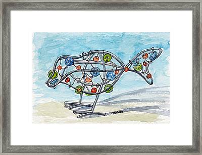 Buttons And Beads Bird Framed Print by Julie Maas