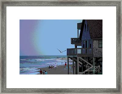 Buxton Beach And People Framed Print by Cathy Lindsey
