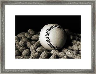 Buy Me Some Peanuts - Baseball - Nuts - Snack - Sport - B W Framed Print by Andee Design