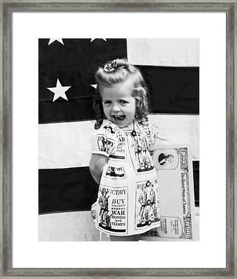 Buy Wwii War Bonds Girl Framed Print by Underwood Archives