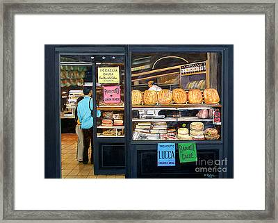 buying bread in Lucca Italy Framed Print by Don Felich