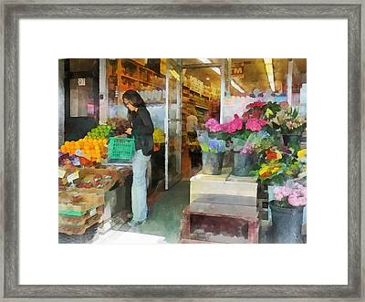 Buying Fresh Fruit Framed Print by Susan Savad