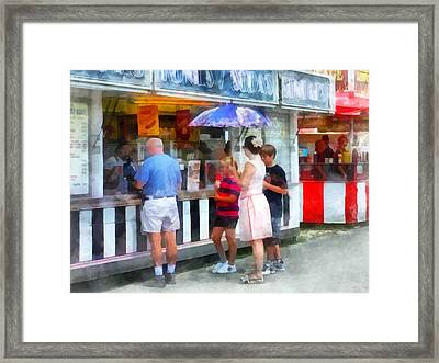 Buying Ice Cream At The Fair Framed Print by Susan Savad